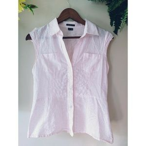 Theory Pink and White Striped Button Up Shirt Sz S